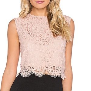 Revolve Bishop + Young Everly Lace Crop Top Blush